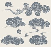 A set of grunge cloud graphics in oriental style.