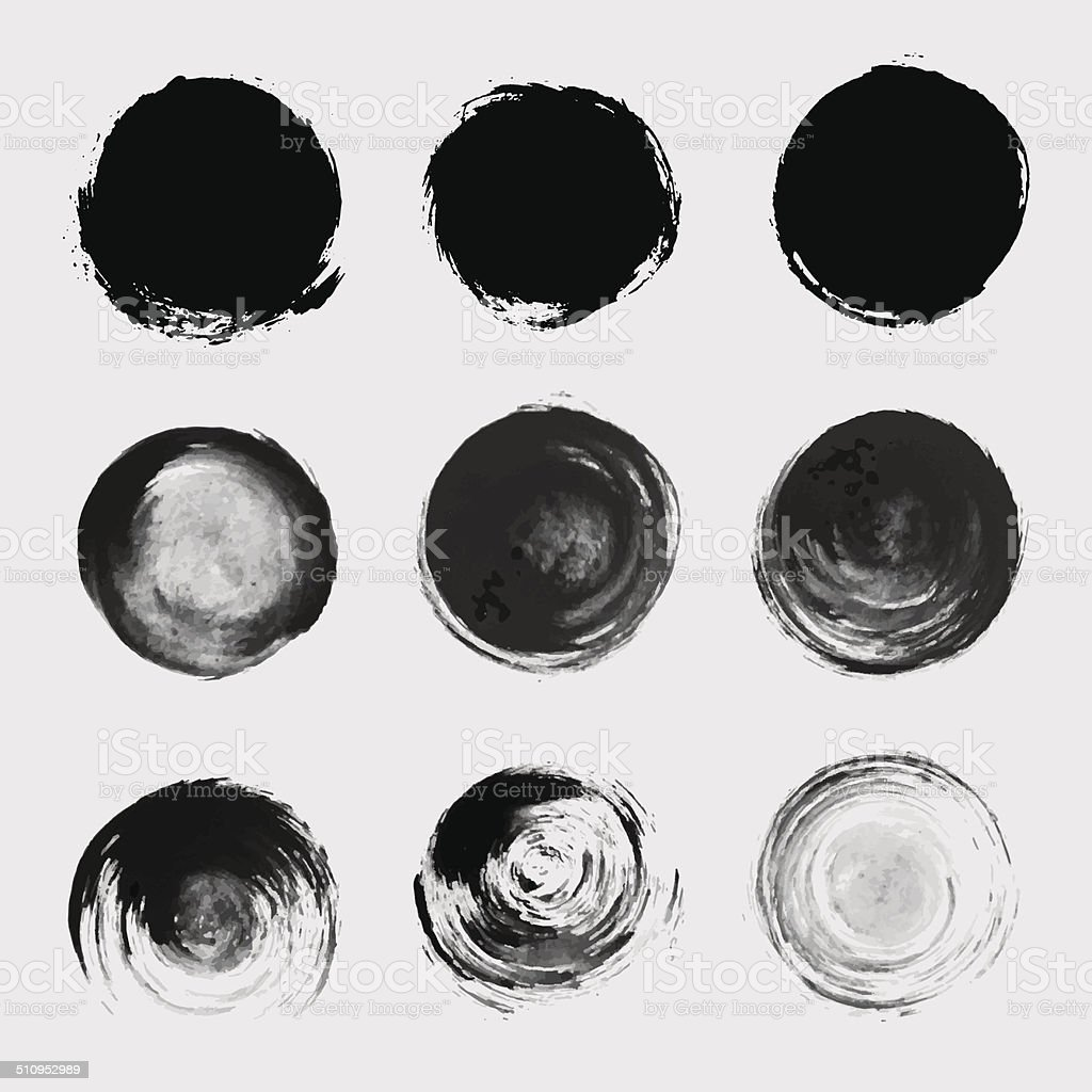 Grunge paint circle vector element set. Brush smear stain texture vector art illustration