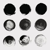 Grunge paint circle vector element set. Brush smear stain texture
