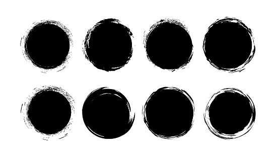 Grunge paint circle vector set. Abstract story highlight cover icons. Grunge round frames for social media stories.