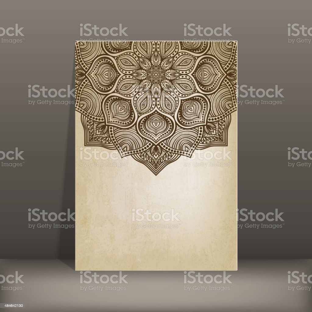 grunge paper card with circular pattern vector art illustration