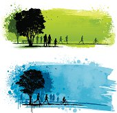 Two grunge park backgrounds with silhouetted people, birds and trees