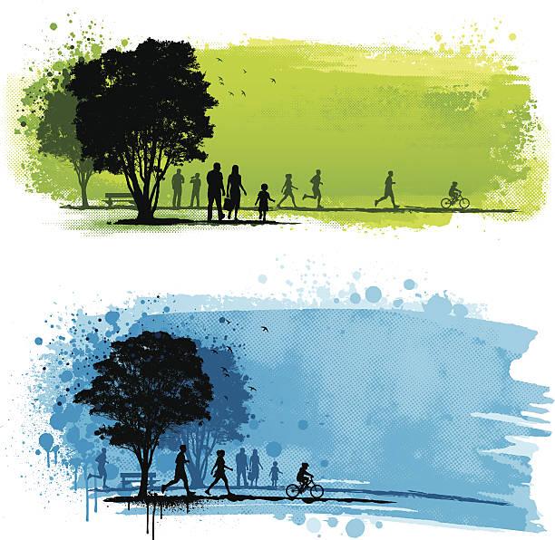 Grunge park backgrounds vector art illustration