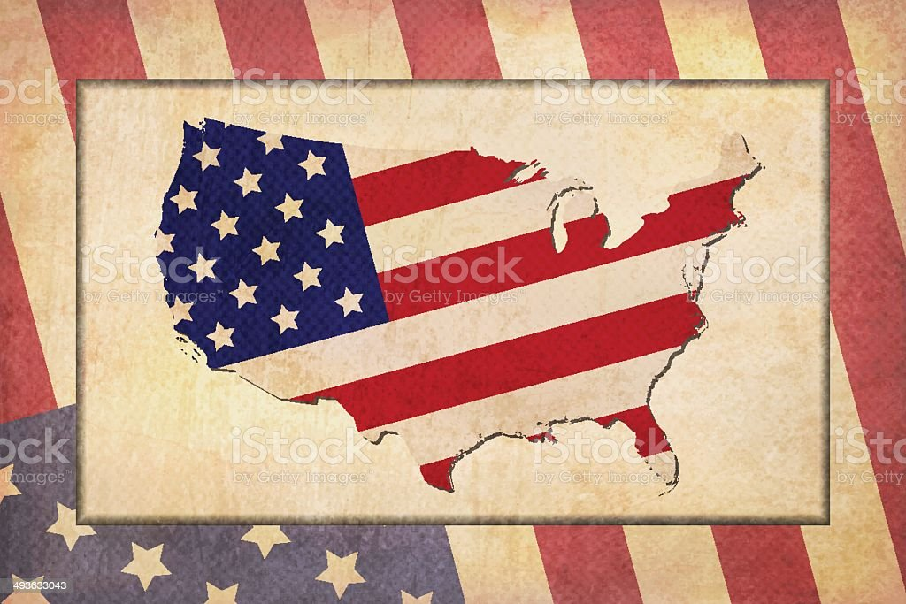 Grunge patriotic frame vector art illustration