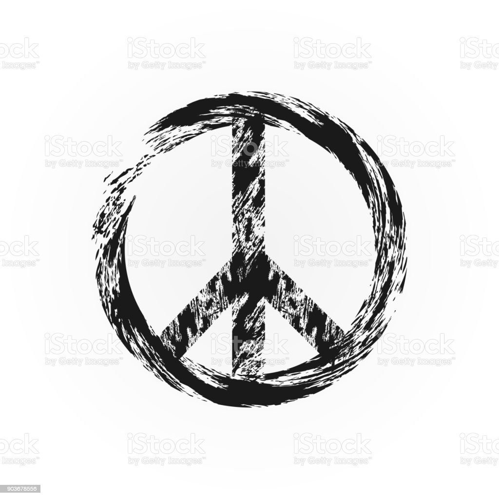 Grunge Peace Symbol Broken Sign Pacifism Rough Brush Stock Vector