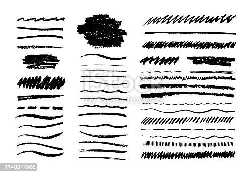 Grunge pencil line. Scribble chalk brush, black doodle graphite art texture, hand drawn sketch elements. Vector grungy lines set