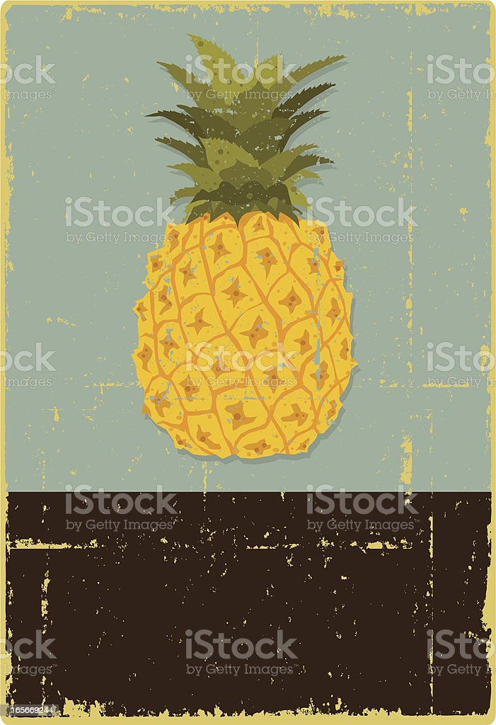 Grunge Pineapple Sign vector art illustration