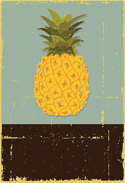 Grunge Znak ananasa – artystyczna grafika wektorowa