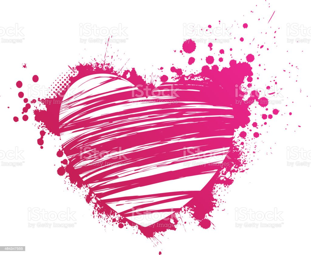 Grunge pink heart royalty-free stock vector art