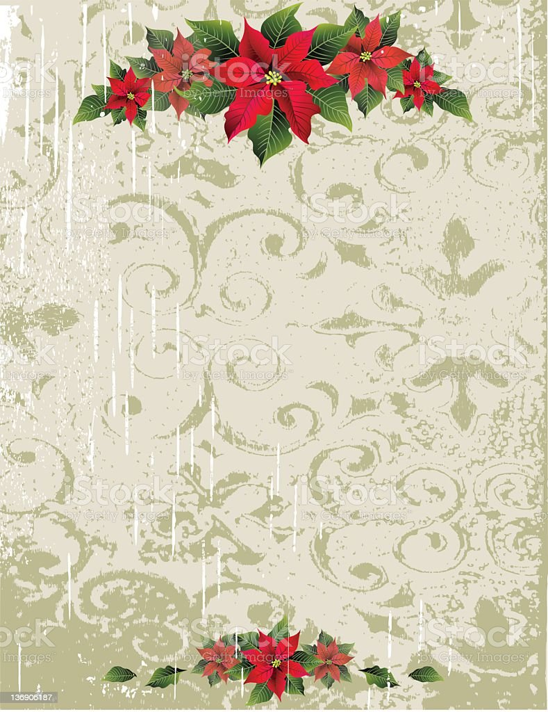 Grunge Poinsettia Background royalty-free stock vector art
