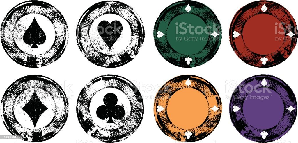 Grunge Poker Chip Set royalty-free grunge poker chip set stock vector art & more images of black and white