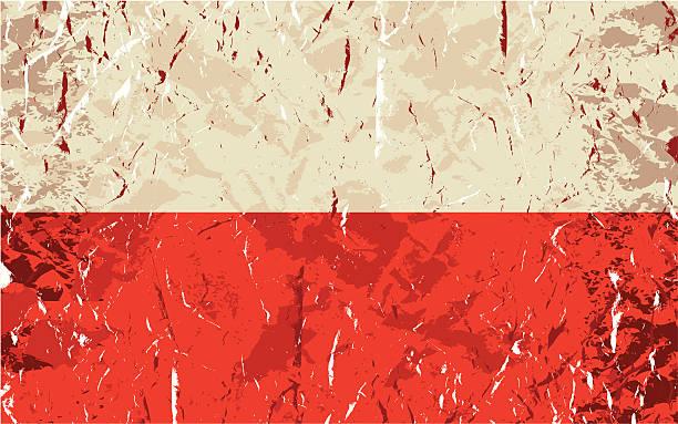 グランジポリッシュフラグ - ポーランドの国旗点のイラスト素材/クリップアート素材/マンガ素材/アイコン素材