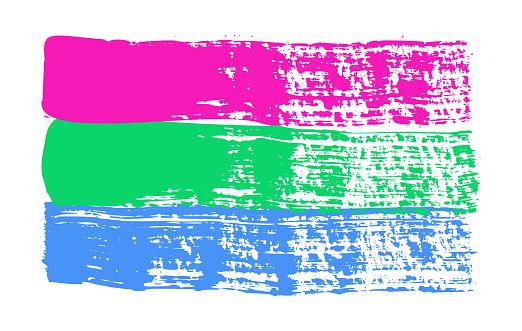 Grunge Polysexual pride flag. Vector illustration Symbol of LGBTQ