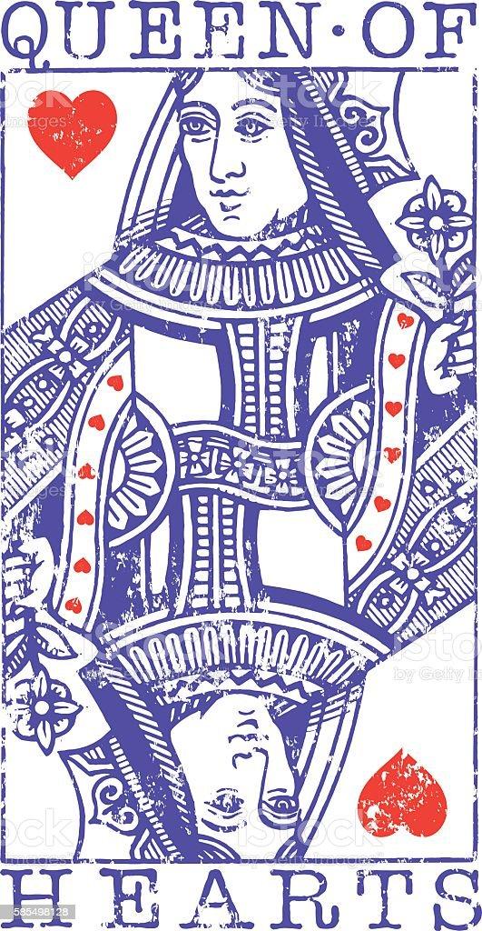 Grunge Queen of Hearts illustration vector art illustration