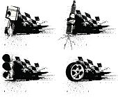 Black-and-white vector illustration of four grunge racing emblems, incorporating a checkered flag and various automotive elements: a piston, a spark plug, a traffic light, and a tire. Could be customized with text over the black area or could be used as accents or bullets in a layout.