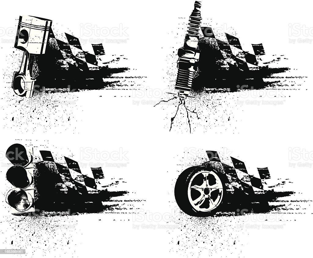 Grunge Racing Emblems vector art illustration
