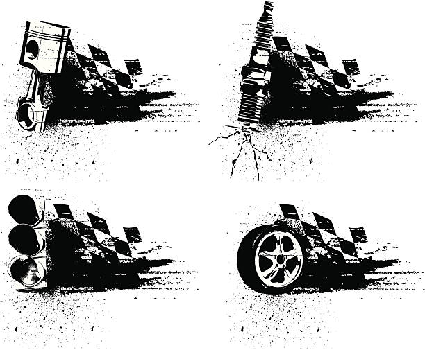 Grunge Racing Emblems Black-and-white vector illustration of four grunge racing emblems, incorporating a checkered flag and various automotive elements: a piston, a spark plug, a traffic light, and a tire. Could be customized with text over the black area or could be used as accents or bullets in a layout. auto racing stock illustrations