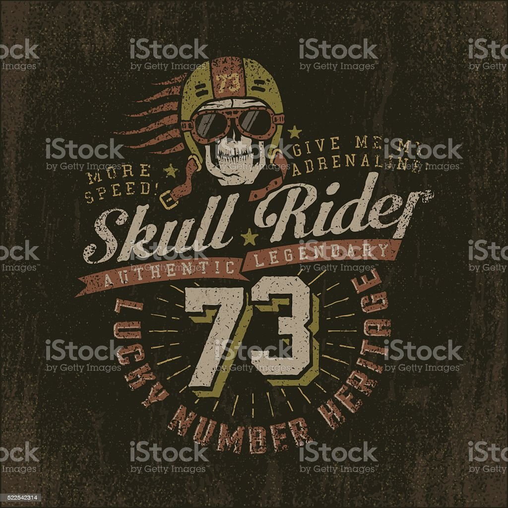 Grunge racing logo vector art illustration