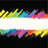 Grunge rainbow design on a black background with a grungy white stripe for copy.