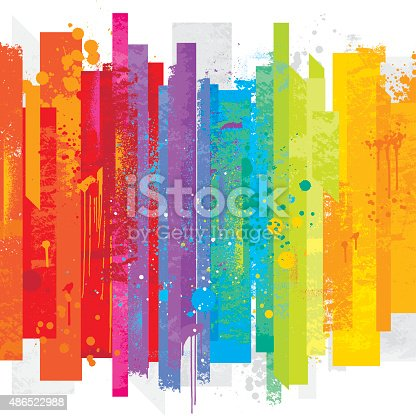 Bright rainbow colored background with a grunge texture and grafitti paint drops
