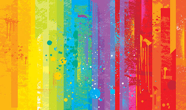 grunge rainbow background - paint texture stock illustrations, clip art, cartoons, & icons