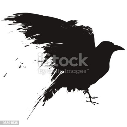 Vector illustration of the silhouette of a raven, crow, or blackbird in grunge style.