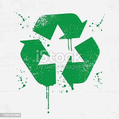 istock Grunge recycling icon with splatters 1250292889