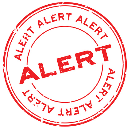 Grunge red alert round rubber seal stamp on white background