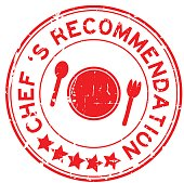 Grunge red  chef 's recommendation round rubber seal stamp on white background