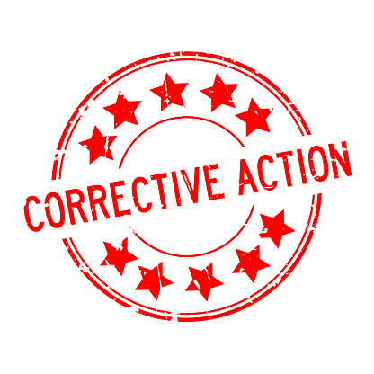 Grunge red corrective action word with star icon round rubber seal stamp on white background