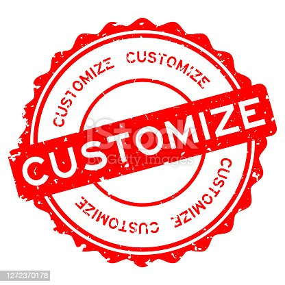 istock Grunge red customize word round rubber seal stamp on white background 1272370178