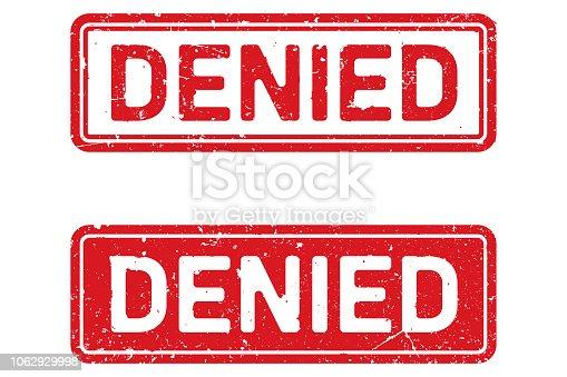 Vector grunge old denied stamp on white background