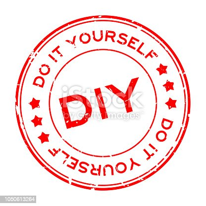 Grunge red DIY word (Abbreviation of Do it yourself) round rubber seal stamp on white background