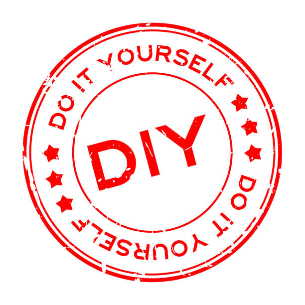 Grunge red DIY word (Abbreviation of Do it yourself) round rubber seal stamp on white background Grunge red DIY word (Abbreviation of Do it yourself) round rubber seal stamp on white background diy stock illustrations