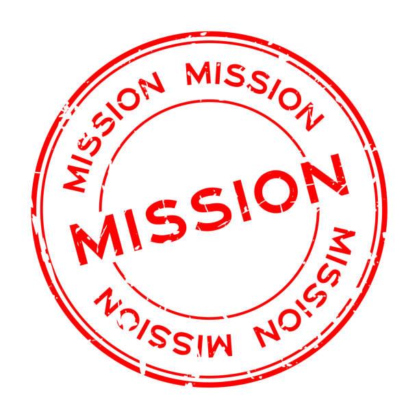 ilustraciones, imágenes clip art, dibujos animados e iconos de stock de palabra de misión roja grunge ronda sello de sello de goma en fondo blanco - misión