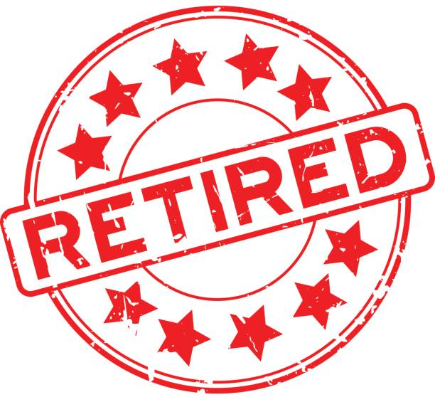Grunge rot im Ruhestand mit Sternsymbol Runde Siegelstempel auf weißem Hintergrund – Vektorgrafik