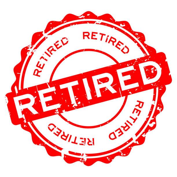Grunge rot im Ruhestand Wort Runde Siegelstempel auf weißem Hintergrund – Vektorgrafik