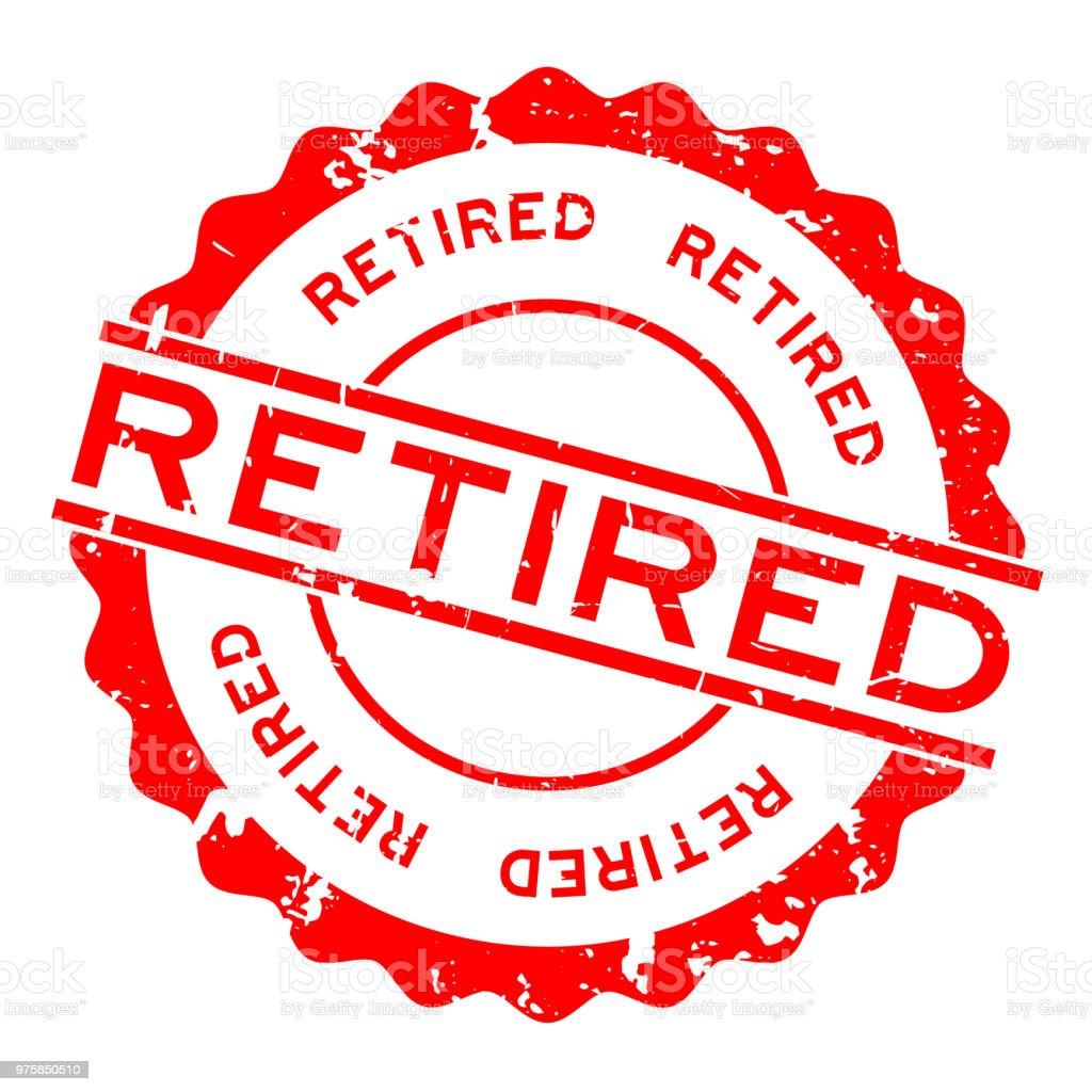Grunge red retired word round rubber seal stamp on white background - Grafika wektorowa royalty-free (Baner)