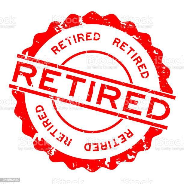 Grunge Red Retired Word Round Rubber Seal Stamp On White Background - Stockowe grafiki wektorowe i więcej obrazów Baner