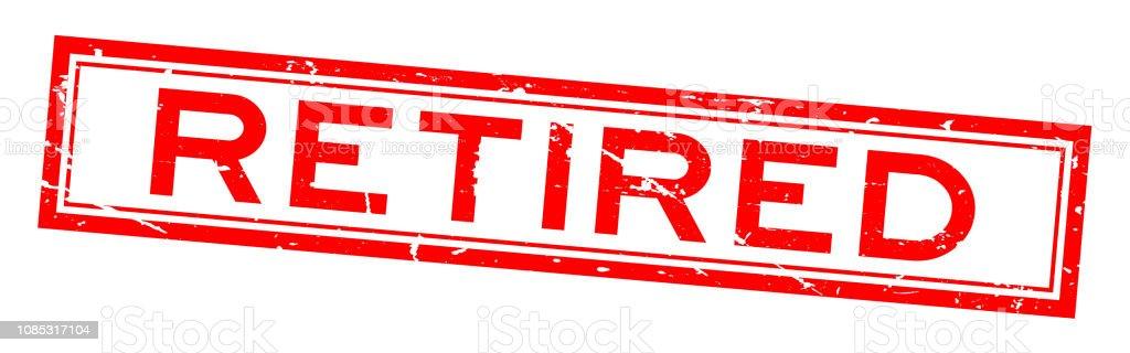 Grunge red retired word square rubber seal stamp on white background - Grafika wektorowa royalty-free (Baner)