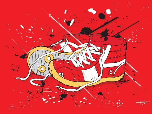 bildbanksillustrationer, clip art samt tecknat material och ikoner med grunge red sneakers - hip hop poster