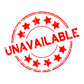 Grunge red unavailable word with star icon round rubber stamp on white background