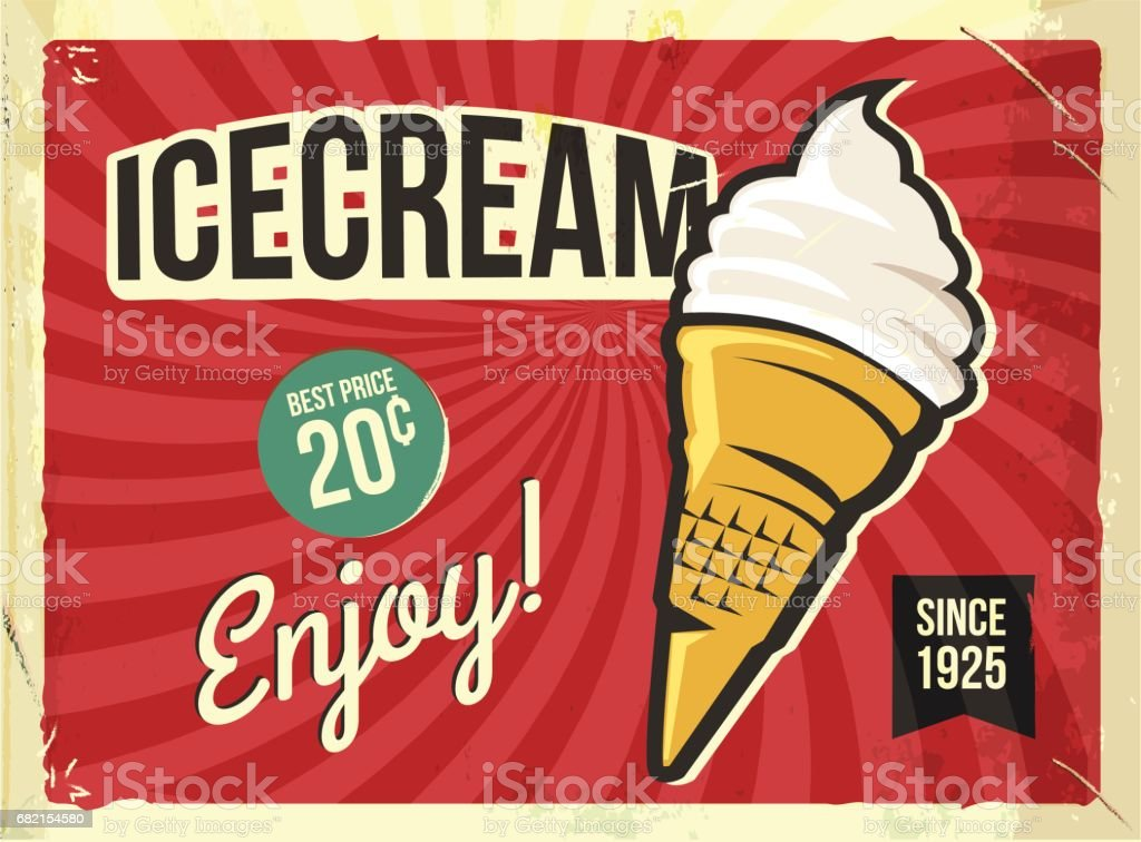 Grunge retro metal sign with icecream. Vintage advertising poster vector art illustration