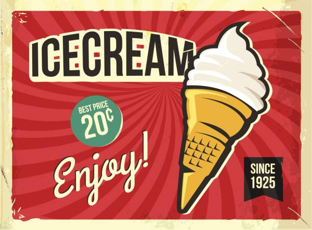 grunge retro metal sign with icecream. vintage advertising poster - 1950s style stock illustrations, clip art, cartoons, & icons