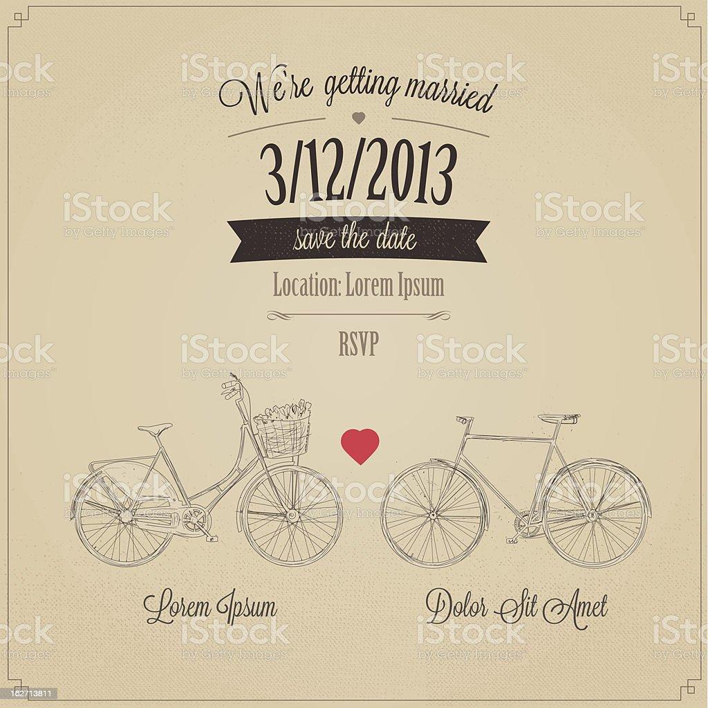 Grunge retro wedding invitation with tandem vintage bicycles royalty-free stock vector art