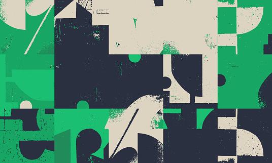 Grunge Revival Pattern Artwork Design Composition