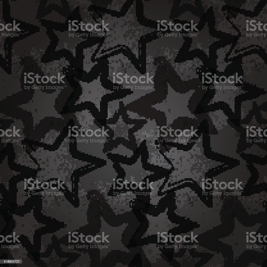 Grunge rock star background, brush smear stars vector art illustration