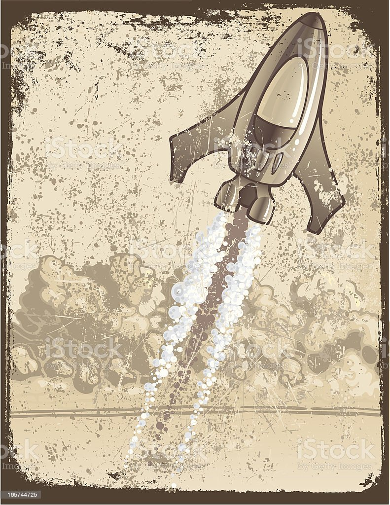 Grunge Rocket vector art illustration