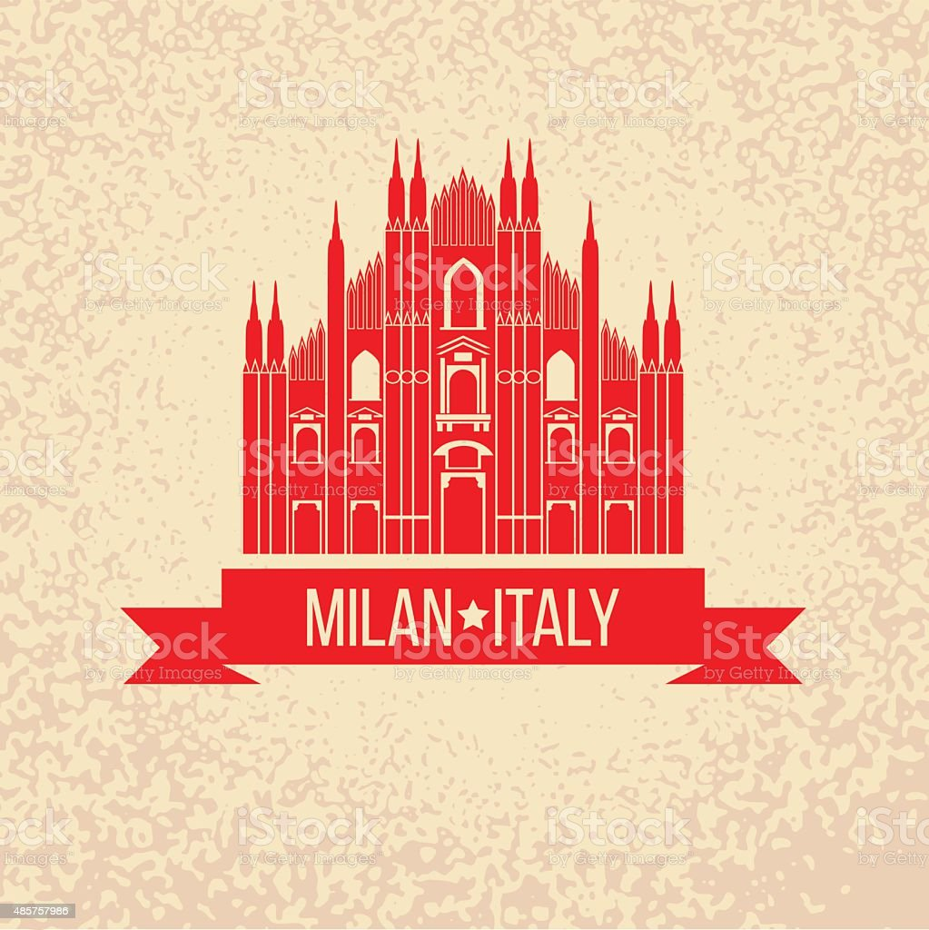 Grunge rubber stamp with symbol of Milan, Italy vector art illustration