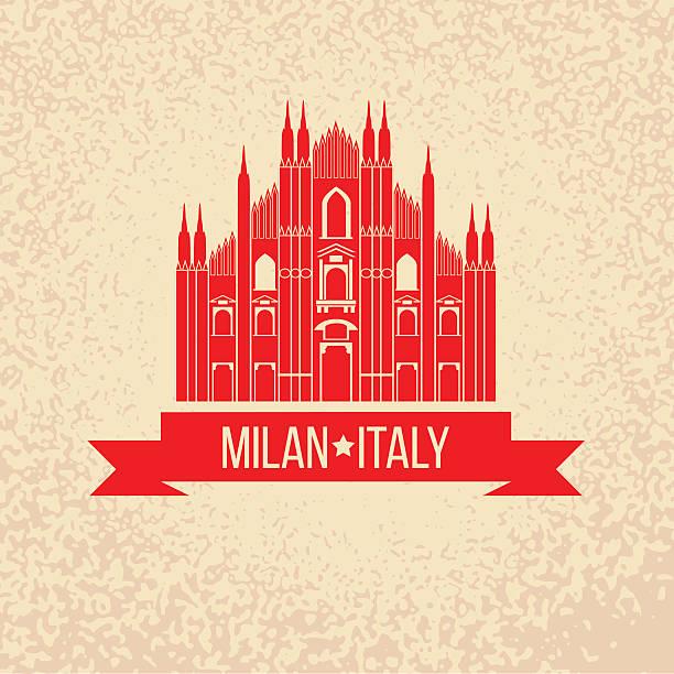 Tampon en caoutchouc Grunge avec le symbole de Milan, Italie - Illustration vectorielle